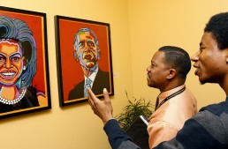 Pop-art portraits of the Obamas unveiled on President's Day